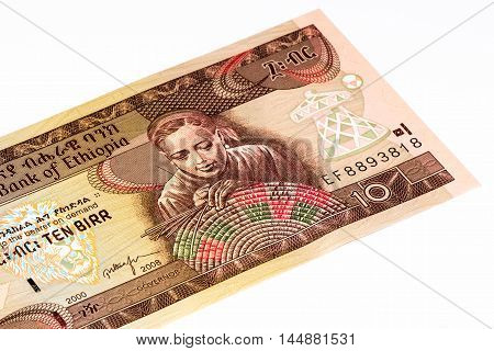 20 Ethiopian birr bank note. Birr is the national currency of Ethiopia