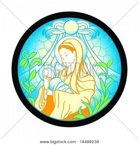 Blessed Virgin Mary with baby Jesus in stained glass frame