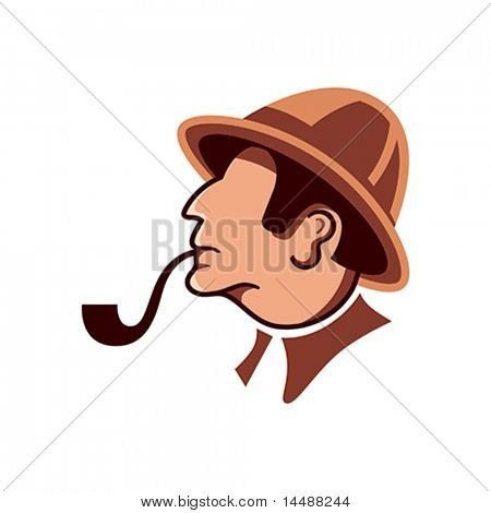 Private detective with pipe isolated over white