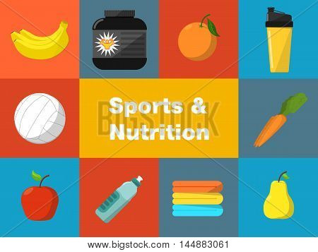Sports and nutrition vector illustration icons set. Protein shaker, nutrition container, ball, fruit, sports bottle, towels on color background. Athletic equipment. Fitness supplements.