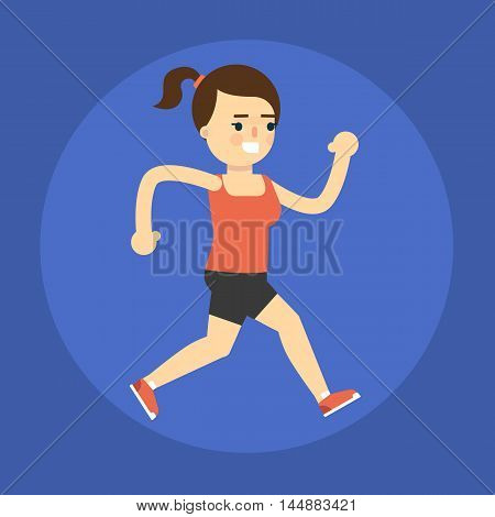 Vector illustration of young smiling running girl. Active sport lifestyle. Cardio running training. Cartoon character in flat style isolated on blue background.