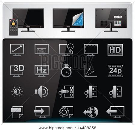 Vector conjunto de iconos de características y especificaciones de TV. Parte 2 (bw, minimalista)