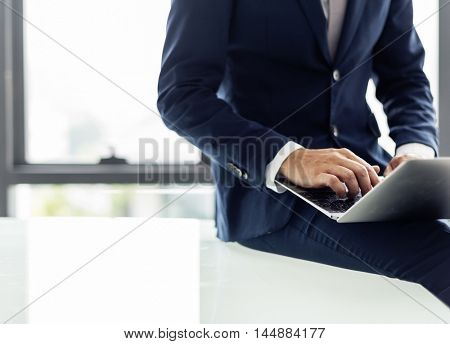 Businessman Computer Marketing Information Concept