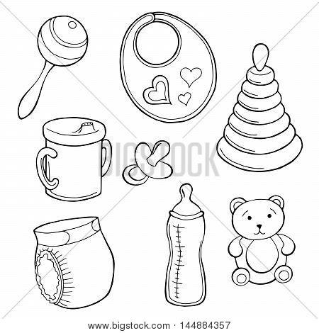 Baby set graphic art black white isolated illustration vector