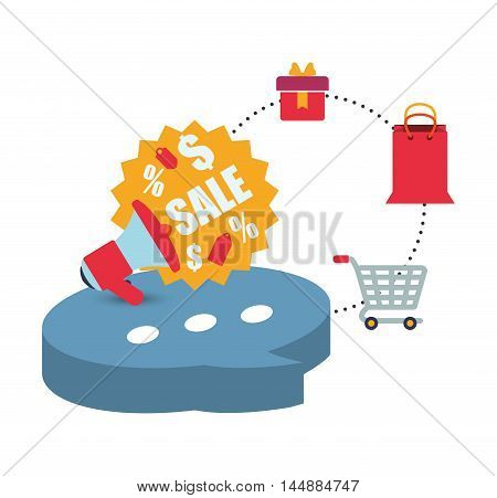 shopping cart bag buble megaphone shop store sale offer market icon set. Colorful and flat design. Vector illustration