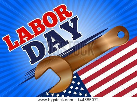 Labor Day design with US flag and a golden wrench