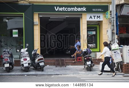 Hanoi, Vietnam - Aug 30, 2016: Exterior front view of Vietcombank branch office on Cau Go street near Hoan Kiem (Sword) lake. Vietcombank is the one of the biggest state owned banks in Vietnam