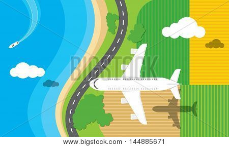 Vector illustration of an airplane flying over a road fields and the sea.