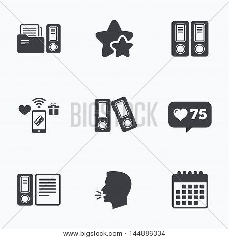 Accounting icons. Document storage in folders sign symbols. Flat talking head, calendar icons. Stars, like counter icons. Vector