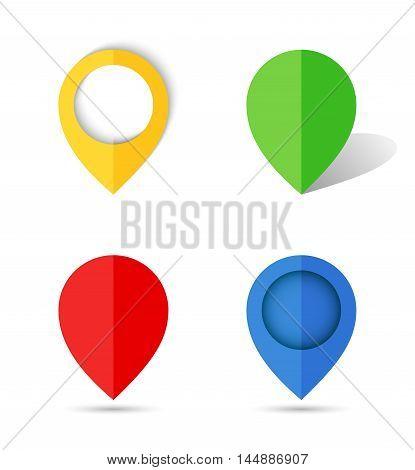 Flat creative paper map pin. Vector illustration.