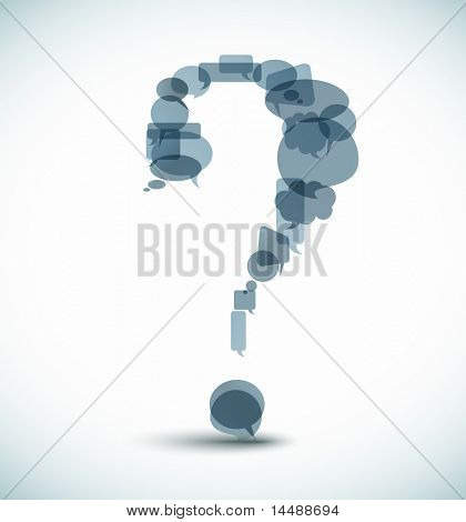 Question mark made from blue speech bubbles