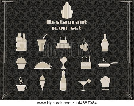 Restaurant Icons In Art Deco Style. Cooking And Kitchen Icons. Vector Illustration.
