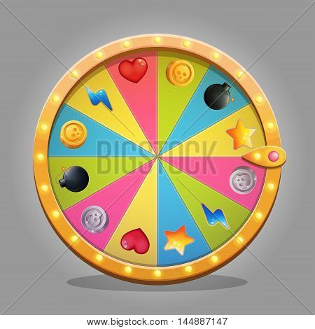 Shiny fortune wheel design element for game and graphic design. A set of icons with gifts is included in a set. Sparkling lamps and multicolored wheel board.