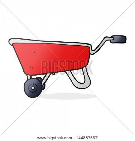 freehand drawn cartoon wheelbarrow