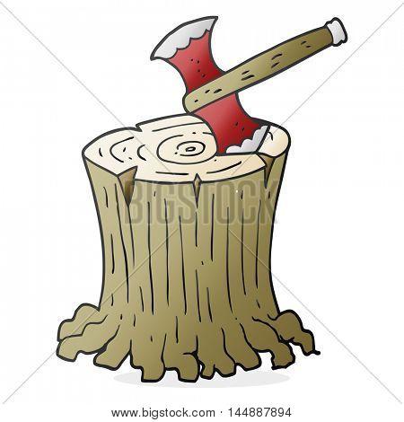 freehand drawn cartoon axe in tree stump