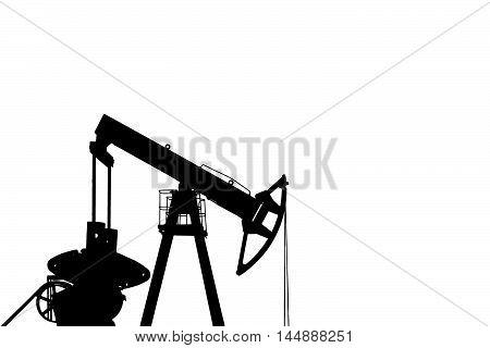 Black silhouette of oil pump. Oil field.