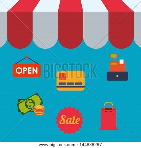 supermarket awning credit card money shopping shop store sale offer market icon set. Colorful and flat design. Vector illustration