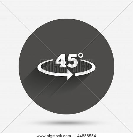 Angle 45 degrees sign icon. Geometry math symbol. Circle flat button with shadow. Vector