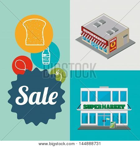 supermarket food awning shopping shop store sale offer market icon set. Colorful and flat design. Vector illustration