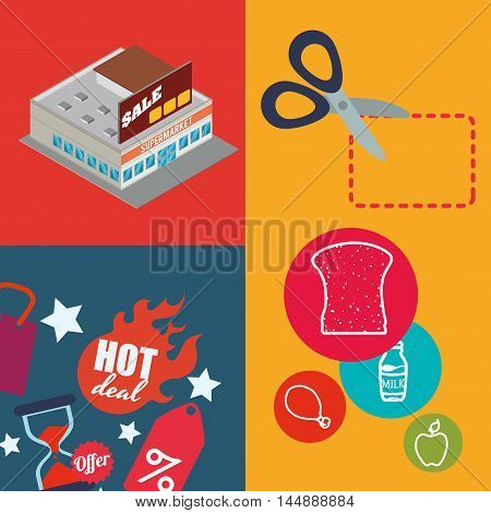 supermarket scissor food awning shopping shop store sale offer market icon set. Colorful and flat design. Vector illustration
