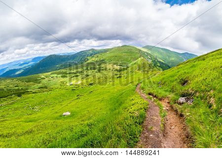 Carpathian Mountains. Mountain trail to the highest mountain of Ukraine Hoverla. Chornogora ridge.