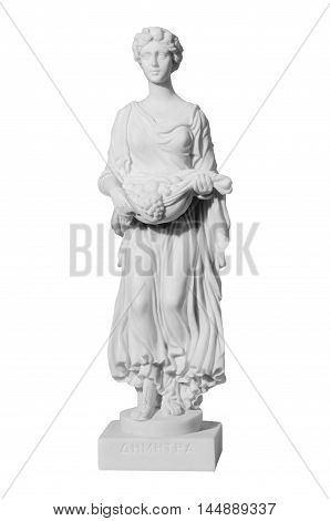 Antique sculpture of the almost naked woman with fruits
