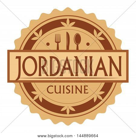 Abstract stamp or label with the text Jordanian Cuisine written inside, traditional vintage food label, with spoon, fork, knife symbols, vector illustration