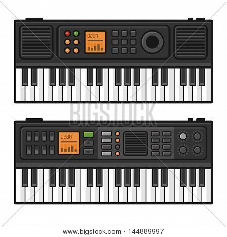 Piano Roll Digital Synthesizer. Midi Keyboard Set on White Background. Vector illustration