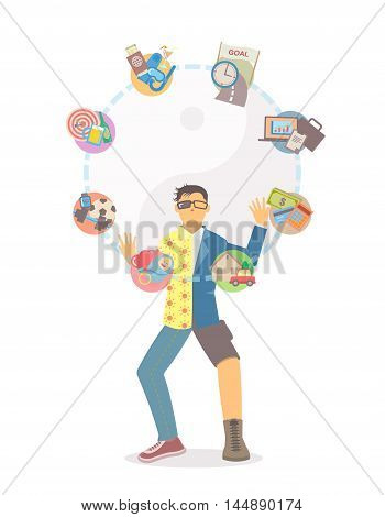 Man in separate clothing juggling life tasks with yin yang on white background