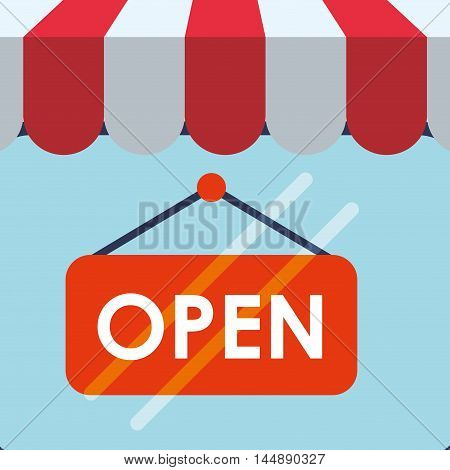 supermarket awning open shopping shop store sale offer market icon set. Colorful and flat design. Vector illustration