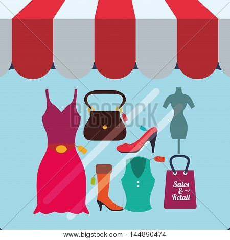 supermarket awning cloth shopping shop store sale offer market icon set. Colorful and flat design. Vector illustration