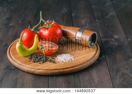 Organic tomatoes with papper and sea salt