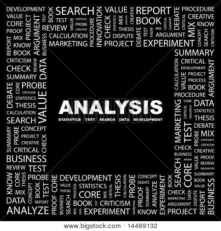 ANALYSIS. Word collage on black background. Vector illustration. Illustration with different association terms.