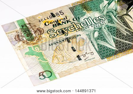 50 Seychellois rupee bank note, the national currency of Seychelles