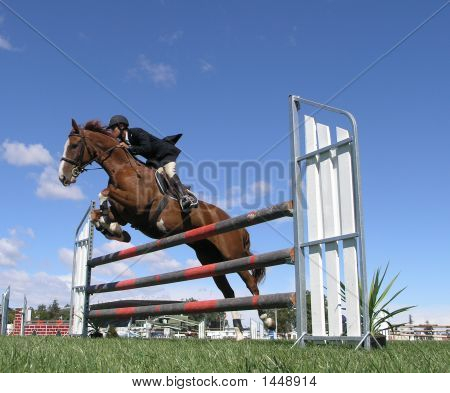 A horse clearing a jump at the Horse
