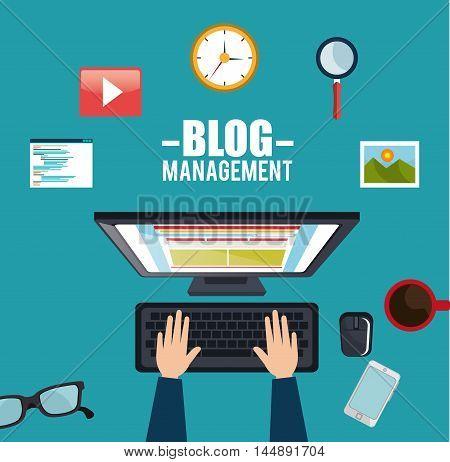 blog management social media vector illustration design