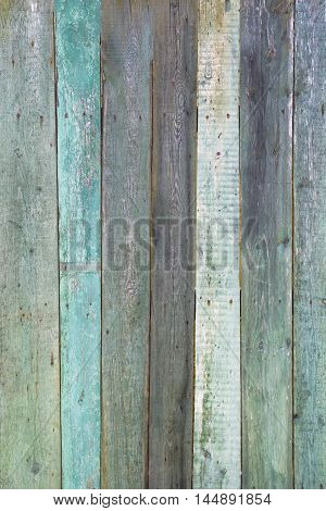 Vintage shabby turquoise weathered painted wood texture as background.