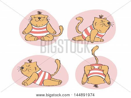 Funny cartoon illustration of fat cat doing yoga. Colorful vector collection of cat in yoga positions.