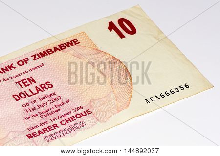 10 Zimbabwe dollars bank note. One of manny currences in Zimbabwe