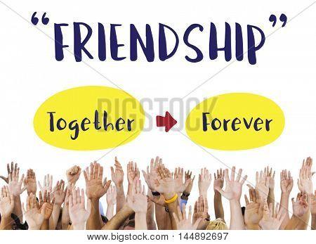 Hand Raised Harmony Unity Concept