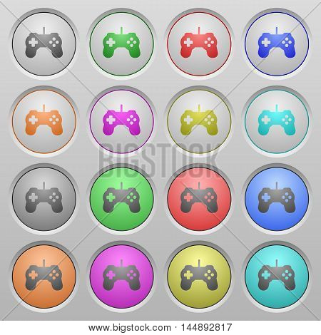 Set of game controller plastic sunk spherical buttons.