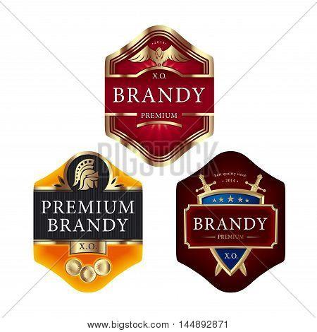 Premium brandy labels with swords eagle roman helmet and shield
