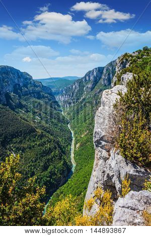 Canyon of Verdon, Provence, France. The biggest mountain canyon in Europe in the spring
