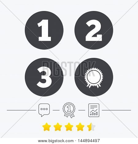First, second and third place icons. Award medal sign symbol. Chat, award medal and report linear icons. Star vote ranking. Vector
