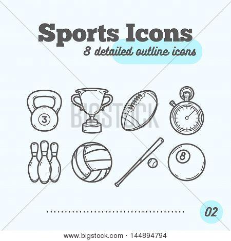Sports Icons Set (Kettlebell Trophy Football Timer Skittles Volleyball Baseball Billiard Ball). Trendy Thin Line Design. Vector Illustration.