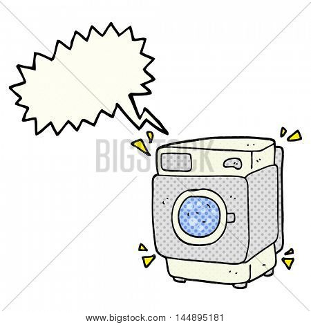 freehand drawn comic book speech bubble cartoon rumbling washing machine