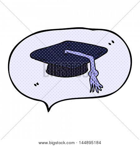 freehand drawn comic book speech bubble cartoon graduation cap