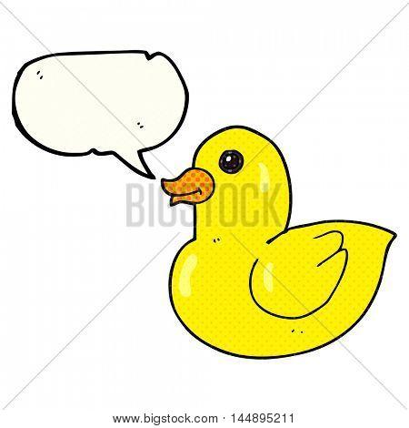 freehand drawn comic book speech bubble cartoon rubber duck