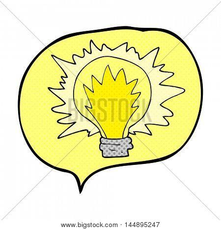 freehand drawn comic book speech bubble cartoon light bulb