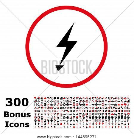 Electric Strike rounded icon with 300 bonus icons. Glyph illustration style is flat iconic bicolor symbols, intensive red and black colors, white background.